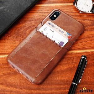 Luxury Armor Leather Card Holder Wallet Shockproof Quality Designer Iphone Case for X Xs Xr - iPhone