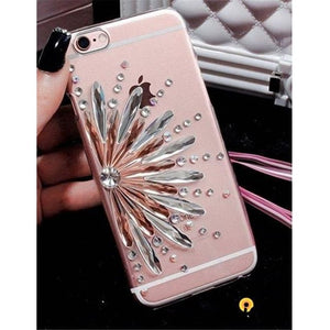 Luxury Bling Crystal Diamond Flower Soft Silicone Tpu Transparent Clear Designer Iphone Case for - iPhone