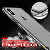 Luxury Diamond Crystal Soft Silicone Transparent Ultra thin Shockproof Designer Iphone Case for - iPhone