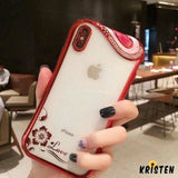 Luxury Diamond Rose Wave Shiny Transparent Silicone Clear Designer Iphone Case for X Xs Xr - iPhone