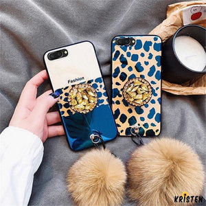 Luxury Fashion Blue Ray Leopard Glossy Golden 3d Diamond Pop Socket Designer Iphone Case with Fur - iPhone