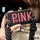 Luxury Fashion Pink Glitter Leather Clutch En Chain Designer Iphone Case with Lanyard for X - iPhone