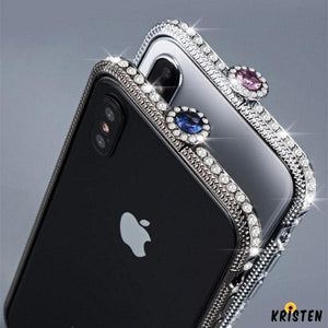 Luxury Glitter Bling Diamond Frame Bumper for Iphone Xs Max Case Glossy Jewelled Cover 6 - iPhone