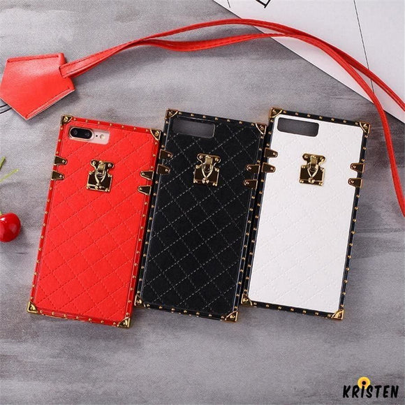 Luxury Golden Vintage Perfume Trunk Fashion Leather Designer Iphone Cases for Se 11 Pro Max X - iPhone Case