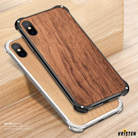 Luxury Metal Frame Hard Tempered Glass Wood Shockproof Bumper Iphone Case for X Xs Xr Max - iPhone