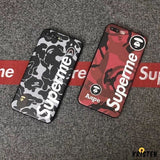 Luxury Supreme Style Red Camo Army Matte Silicone Designer Iphone Case for Se 11 Pro Max X Xs - iPhone