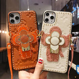 Lv Style Takashi Murakami Leather Kickstand Designer Iphone Case for Se 11 Pro Max X Xs - iPhone