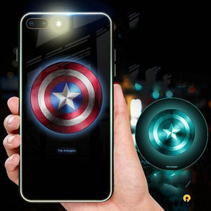 Marvel Style Luminous Super Hero Tempered Glass Shockproof Designer Iphone Case for X Xs Xr - iPhone