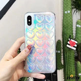 Metalic Bumpy 3d Heart Shiny Silicone Protective Airbag Iphone Case for X / Xs / Max / Xr - iPhone