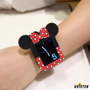 Minnie Mouse Style Polka Dots Silicone Compatible with Apple Watch Case 38mm 40mm 42mm 44mm - Bands