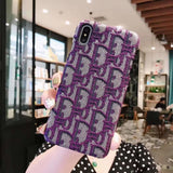 More Colors Dior Style Classic Fabric Silicone Designer Iphone Case for Se 11 Pro Max X Xs - Purple / iPhone SE (2nd Gen)
