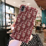 More Colors Dior Style Classic Fabric Silicone Designer Iphone Case for Se 11 Pro Max X Xs - Red / iPhone SE (2nd Gen)