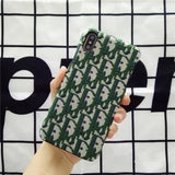 More Colors Dior Style Classic Fabric Silicone Designer Iphone Case for Se 11 Pro Max X Xs - Green / iPhone SE (2nd Gen)