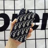 More Colors Dior Style Classic Fabric Silicone Designer Iphone Case for Se 11 Pro Max X Xs - Black / iPhone SE (2nd Gen)