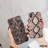 More Selections Luxury Vintage Snake Skin Leather Shockproof Airbag Designer Iphone Case for - iPhone