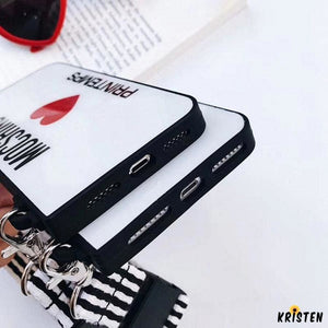 Moschino Style Tempered Glass Luxury Designer Iphone Case