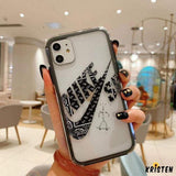 Nike Cdg Style Tempered Glass Shockproof Protective Designer Iphone Case for Iphone 12 Pro Max Mini