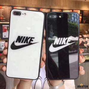 Nike Style Sports Tempered Glass Glossy Stripe Designer Iphone Case for X Xs Max Xr 7 8 - iPhone