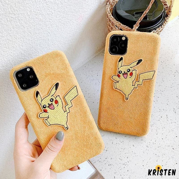 Pikachu Style Suede Silicone Shockproof Protective Designer Iphone Case for 11 Pro Max X Xs - iPhone