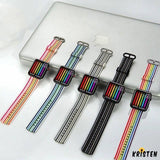 Rainbow Stripe Nylon Durable Compatible with Apple Watch 38mm 40mm 42mm 44mm Band Strap for Iwatch - Bands