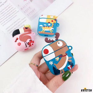 Reindeer Giraffe Flamingo Silicone Designer Protective Shockproof Case for Apple Airpods 1 & 2 - AirPods