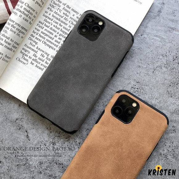 Retro Alcantara Shockproof Protective Designer Iphone Case for Se 11 Pro Max X Xs Xr 7 8 - iPhone