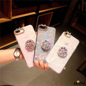 Rhinestone Diamond Bling Pop Socket Shell Silicone Designer Iphone Case for X Xs Max Xr - iPhone