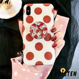 Rhinestone Ruby Gem Pop Socket Airbag Polka Dots Silicone Designer Iphone Case for X Xs - iPhone