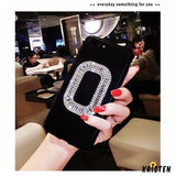Roger Vivier Style Rhinestone Luxury Bling Diamond Square Carbon Fiber Designer Iphone Case for - iPhone