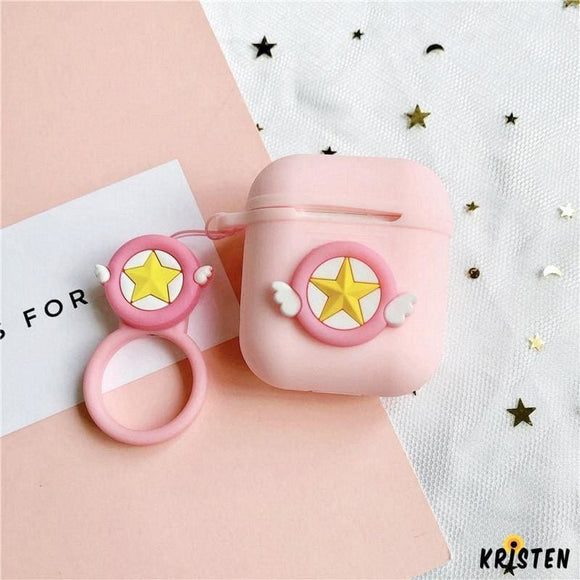 Sailor Moon Pink Star Silicone Protective Shockproof Case for Apple Airpods 1 & 2 - AirPods