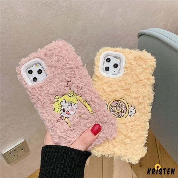 Sailor Moon Style Embroidery Furry Shockproof Protective Designer Iphone Case for Se 11 Pro - iPhone