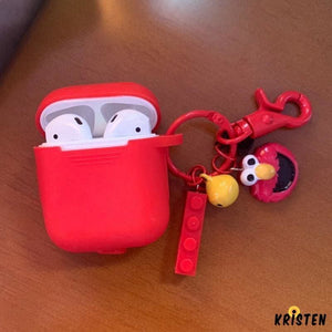 Sesame Street Style Elmo Cookie Silicone Protective Shockproof Case for Apple Airpods 1 & 2 - AirPods