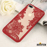 Sexy Fashion Floral Pink Black White Red Lace Soft Silicone Designer Iphone Case for X Xs - iPhone