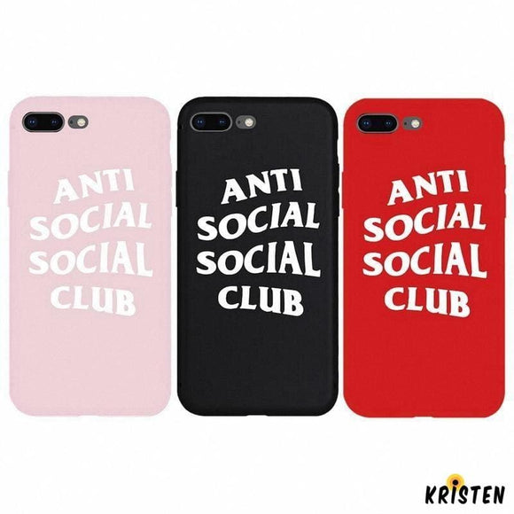 Street Fashion Assc Anti Social Club Style Soft Silicone Luxury Designer Iphone Case for Se - iPhone