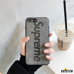 Supreme Style Genuine Leather Durable Designer Iphone Case