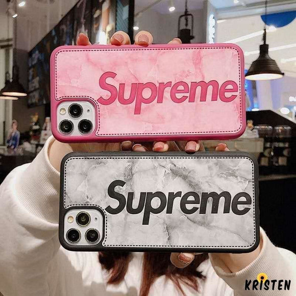 Supreme Style Imitation Leather Protective Designer Iphone Case for 12 Pro Max Mini