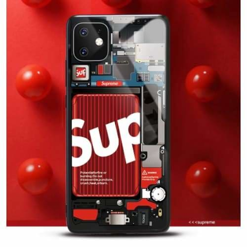 Supreme Style Tempered Glass Designer Iphone Case for Se 11 Pro Max X Xs Xr 7 8 plus - iPhone SE (2nd Gen)