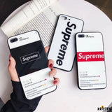 Supreme Style Tempered Glass Protective Designer Iphone Case for 12 Pro Max Mini