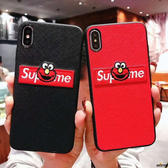 Supreme X Sesame Street Style Modern Silicone Designer Iphone Case for Xs Max Xr 7 8 - iPhone