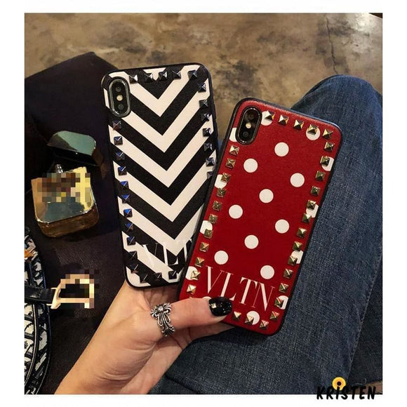 Valentino Style Vltn Fashion Leather Studs Luxury Apple Iphone Case for Se 11 Pro Max X Xs - iPhone
