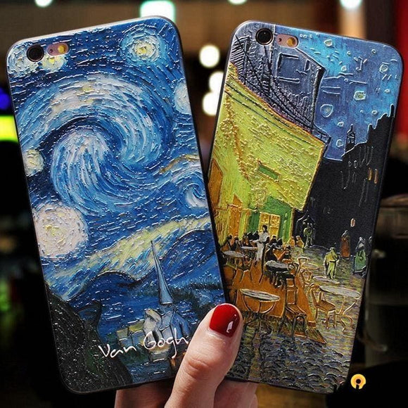 Van Gogh Starry Sky Sculpted Shockproof Protective Designer Iphone Case for Se 11 Pro Max X - iPhone