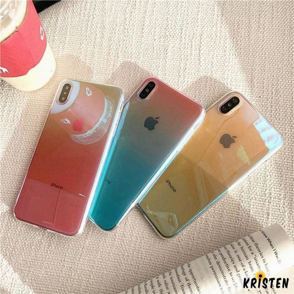 Waterproof Blue Ray Ombre Gradient Colorful Light Mirror Designer Iphone Case Protector for - iPhone