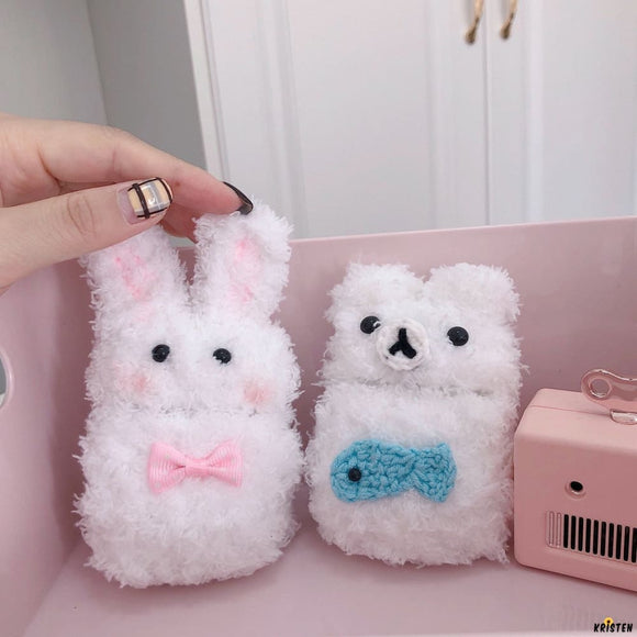 White Bear Furry Protective Case for Apple Airpods Pro - AirPods