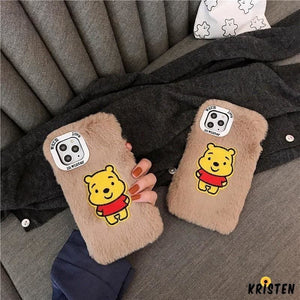 Winnie the Pooh Style Cute Furry Shockproof Protective Designer Iphone Case for Se 11 Pro Max - iPhone