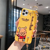 Winnie the Pooh Style Hand Strap Shockproof Protective Designer Iphone Case for 11 Pro Max X - iPhone