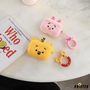 Winnie the Pooh Style Ring Holder Designer Silicone Protective Case for Apple Airpods Pro - AirPods