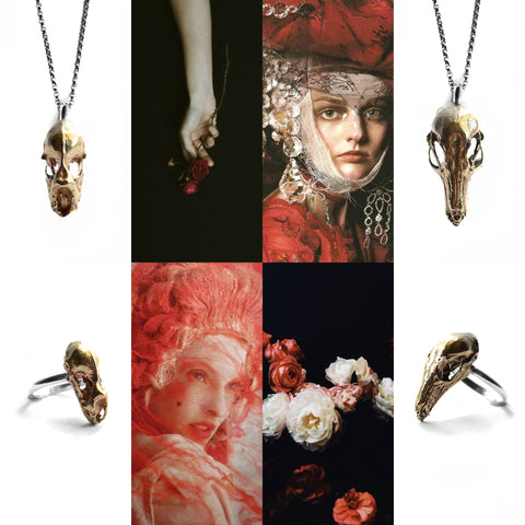 baroque art collage birds n bones jewelry