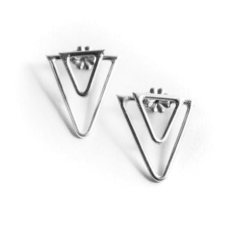 Double Sided Triangle Studs by Birds N Bones Jewelry