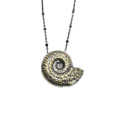 Ammonite Necklace . Brass