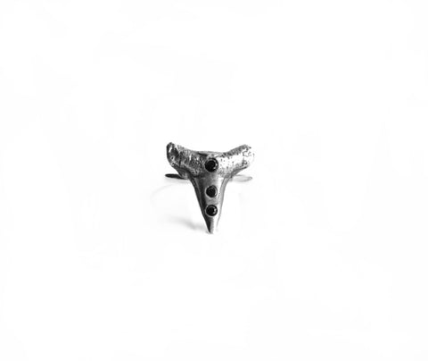 Basilisk Incisor Ring . Three Stones Birds N Bones Jewelry